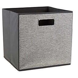 .ORG Crossweave 13-Inch Square Collapsible Storage Bin in Grey/White