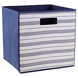 .ORG Prairie Stripe 13-Inch Square Collapsible Storage Bin in Natural/Navy