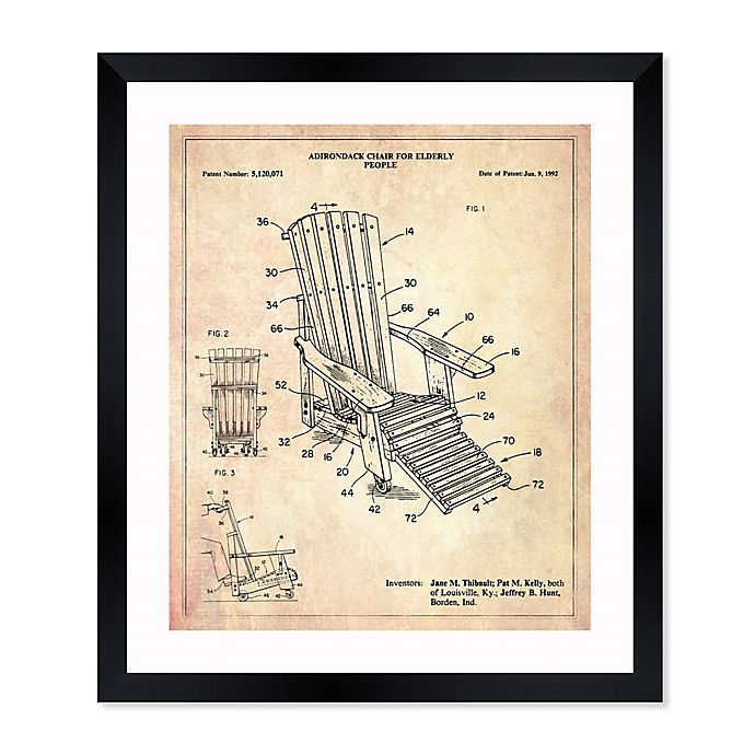 Alternate image 1 for Oliver Gal™ Adirondack Chair 1992 Blueprint 26-Inch x 32-Inch Framed Wall Art