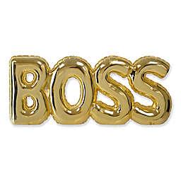 """""""Boss"""" Bubble Letter Resin Wall Art in Gold"""