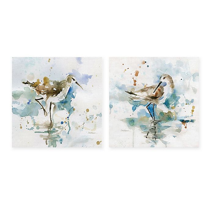 Alternate image 1 for Masterpiece Art Gallery Malibu Sand and Palm Piper 12-Inch Square Canvas Wall Art (Set of 2)