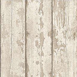 Arthouse Whitewashed Wood Wallpaper in White