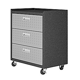 Manhattan Comfort Fortress 31.5-Inch Mobile Garage Cabinet with Drawers in Grey