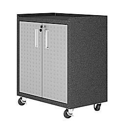 Manhattan Comfort Fortress 31.5-Inch Mobile Garage Cabinet with Shelves in Grey