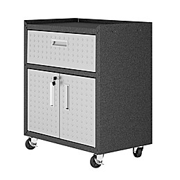 Manhattan Comfort Fortress 31.5-Inch Mobile Garage Cabinet with Drawer & Shelf in Grey