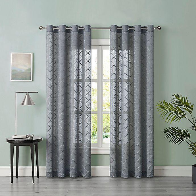 Alternate image 1 for Tiburon Sheer 63-Inch Grommet Window Curtain Panel in Grey