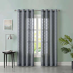 Tiburon Sheer 63-Inch Grommet Window Curtain Panel in Grey