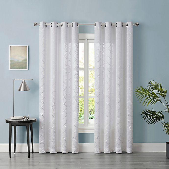 Alternate image 1 for Tiburon Sheer 108-Inch Grommet Window Curtain Panel in White