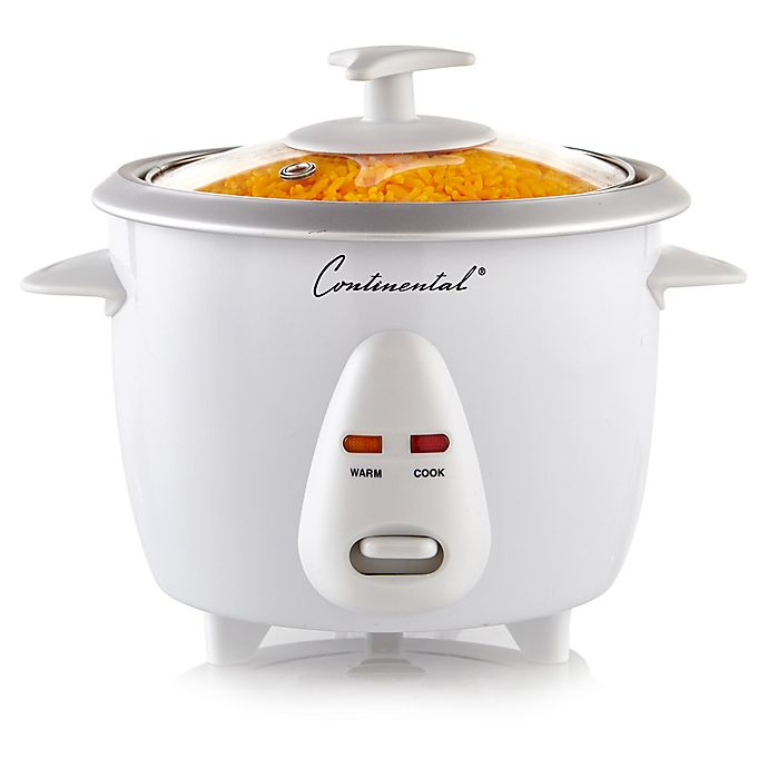 Alternate image 1 for Continental Electric 6-Cup Cooked Rice Cooker with Glass Lid in White