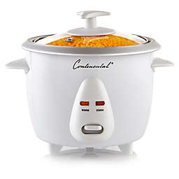 Continental Electric 6-Cup Cooked Rice Cooker with Glass Lid in White
