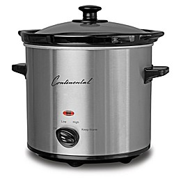 Continental Electric 2-Quart Stainless Steel Slow Cooker with Glass Lid