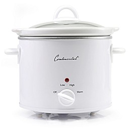 Continental Electric 4-Quart Slow Cooker with Glass Lid in White