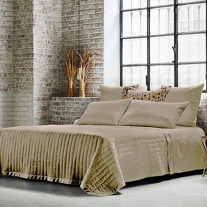 Alternate image 1 for Frette At Home Vertical Queen Coverlet in Stone