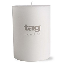 tag 3-Inch x 4-Inch Chapel Unscented Long Burning Pillar Candle in Ivory