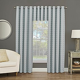 Rings Circle Embroidered Blackout Window Curtain Panel and Valance