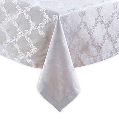 Saro Lifestyle Paloma Damask Oblong Tablecloth in White