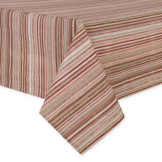 Alternate image 1 for Textured Stripes Laminated 60-Inch x 84-Inch Oblong Tablecloth