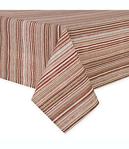 Mantel rectangular de poliéster plastificado a rayas de 1.52 x 3.04 m