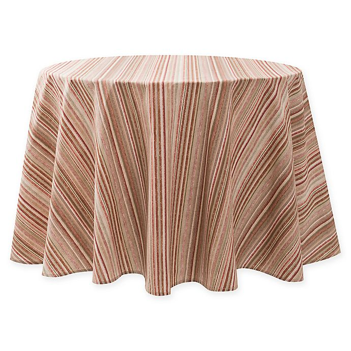 Alternate image 1 for Textured Stripe Laminated Fabric 70-Inch Round Tablecloth