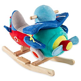 Happy Trails Plush Rocking Plane Ride-On in Blue