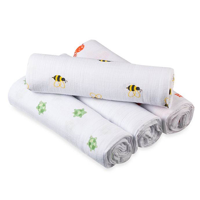 Alternate image 1 for aden® by aden + anais® Life's a Hoot Muslin 4-Pack swaddleplus® Blankets