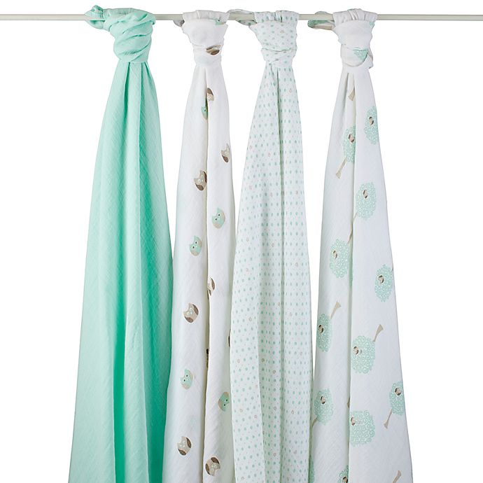 Alternate image 1 for aden® by aden + anais® Goodnight Owl Muslin 4-Pack swaddleplus® Blankets