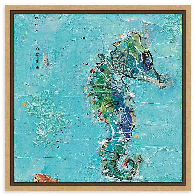 Alternate image 1 for Amanti Art Little Seahorse Blue Framed Canvas Wall Art