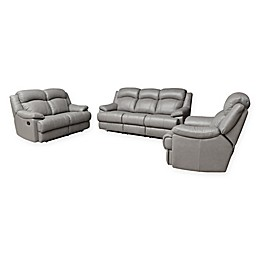 Abbyson Living™ Sienna 3-Piece Leather Sofa Set in Grey