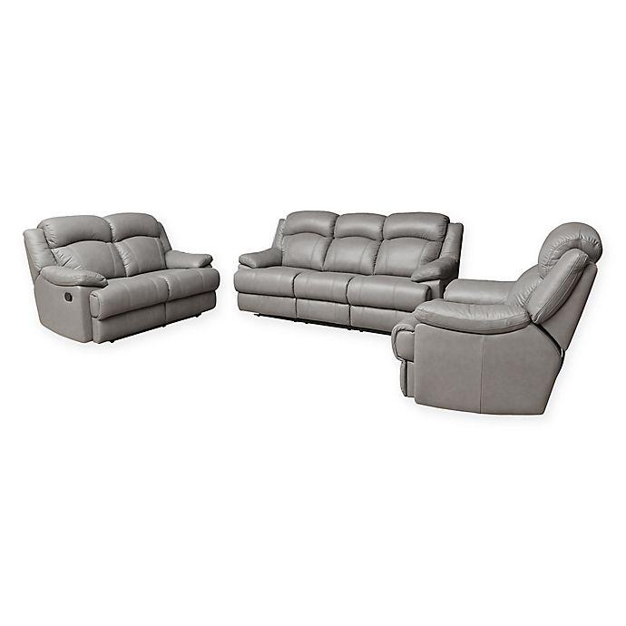 Sienna 3 Piece Leather Sofa Set In Grey