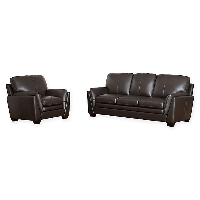 Alternate image 1 for Abbyson Living™ Leo 2-Piece Leather Sofa and Armchair Set