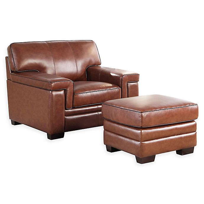 Swell Abbyson Living Arlo 2 Piece Leather Chair And Ottoman Set Gmtry Best Dining Table And Chair Ideas Images Gmtryco