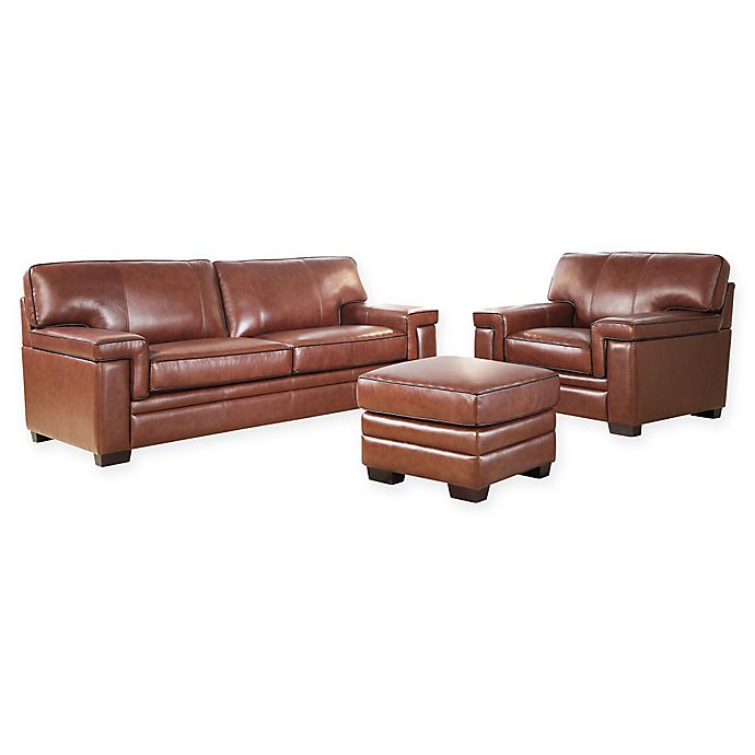 Abbyson Living™ Arlo 3-Piece Leather Sofa, Chair and Ottoman ...