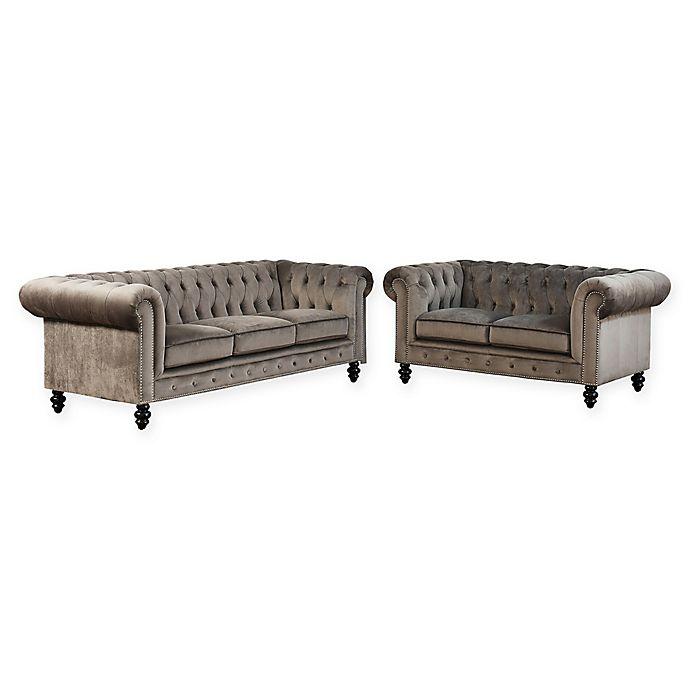 Alternate image 1 for Abbyson Living™ Hansen 2-Piece Velvet Sofa and Loveseat Set in Grey