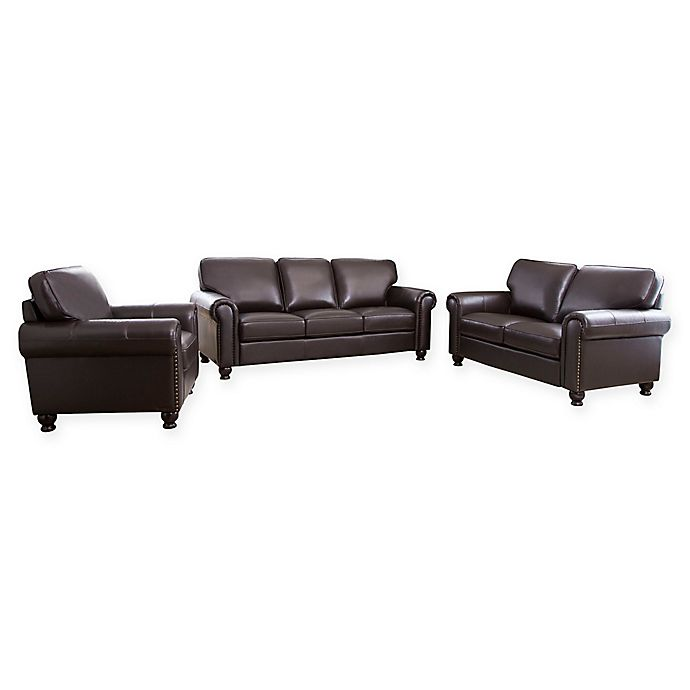 Alternate image 1 for Abbyson Living™ Bella 3-Piece Leather Sofa, Loveseat and Armchair Set in Brown