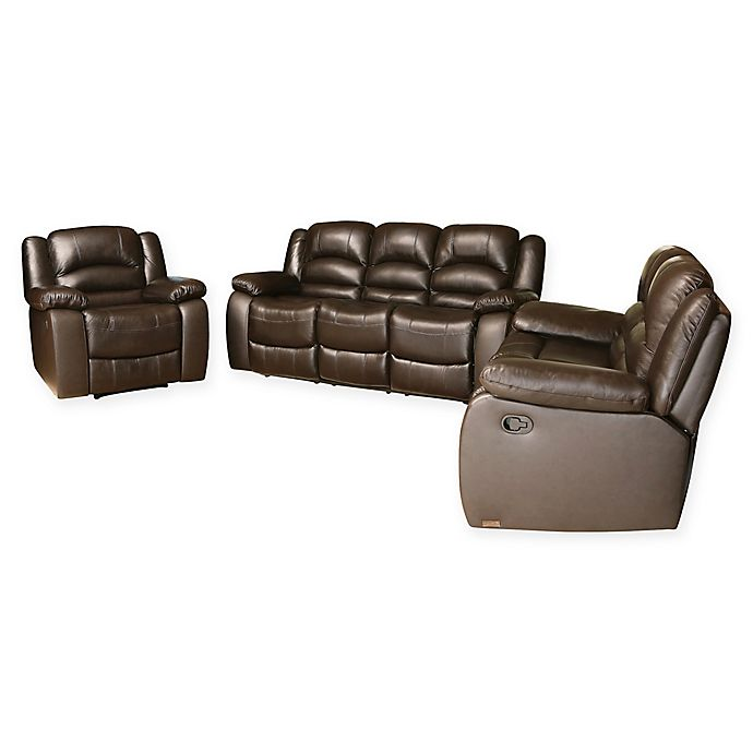 Alternate image 1 for Abbyson Living™ Sloane 3-Piece Leather Sofa Set in Dark Brown