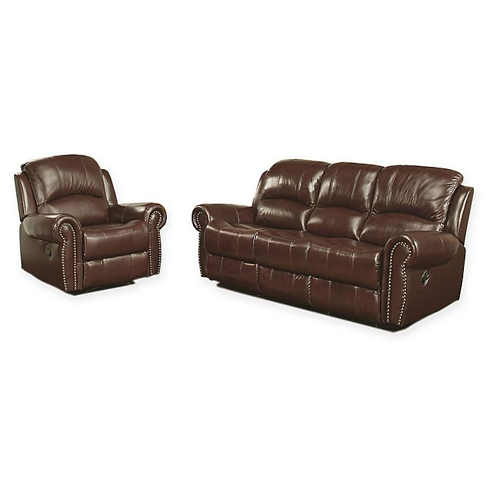 Abbyson Living™ Riley 2-Piece Leather Reclining Sofa and ...