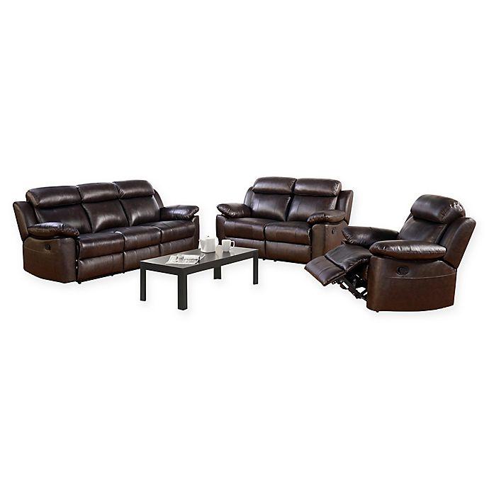 Abbyson Living™ Katrina 3-Piece Leather Sofa Set in Brown ...