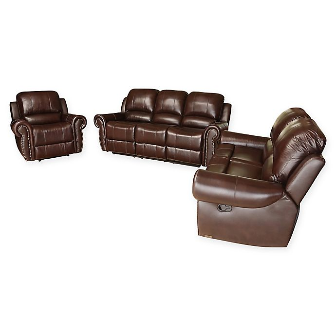 Abbyson Living Riley 3 Piece Leather Reclining Sofa