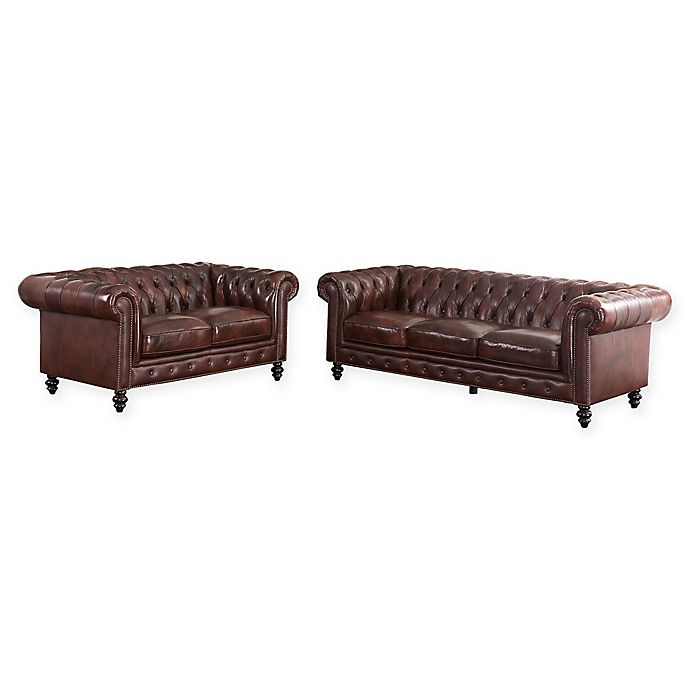 Brilliant Abbyson Living Hansen 2 Piece Leather Sofa And Loveseat In Gmtry Best Dining Table And Chair Ideas Images Gmtryco