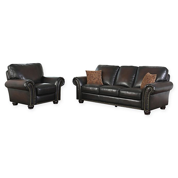 Abbyson Living™ Violetta 2-Piece Leather Sofa and Recliner Set in ...