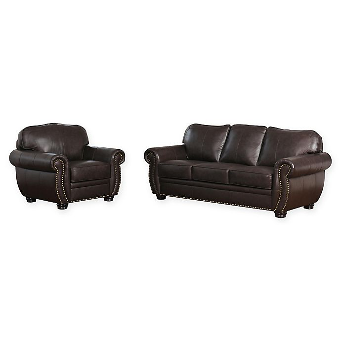 Alternate image 1 for Abbyson Living™ Olivia 2-Piece Leather Sofa and Armchair in Brown