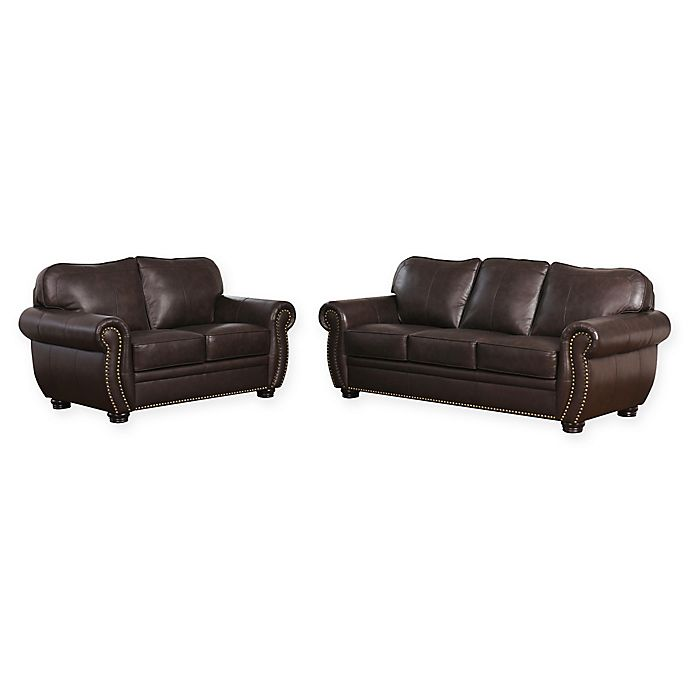 Abbyson Living™ Olivia 2-Piece Leather Sofa and Loveseat Set in Brown