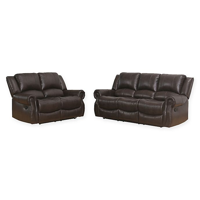 Abbyson Living Petronia Reclining Sofa And Loveseat Set In