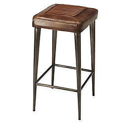 Butler Specialty Company Leather Industrial Chic Bar Stool in Dark Brown