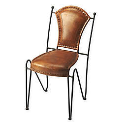 Butler Specialty Company Leather Dining Chair in Medium Brown
