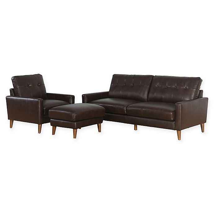 Abbyson Living™ Theodore Mid-Century 3-Piece Leather Sofa Set | Bed ...