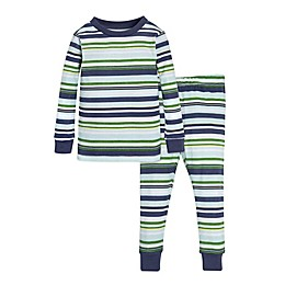 Burt's Bees Baby® 2-Piece Vintage Stripe Pajama Shirt and Pant Set in Green