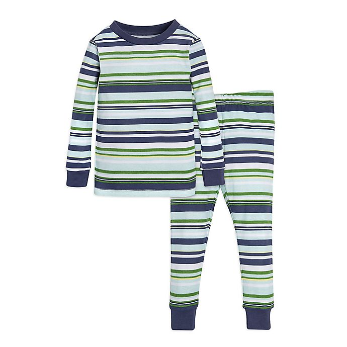 Alternate image 1 for Burt's Bees Baby® 2-Piece Vintage Stripe Pajama Shirt and Pant Set in Green