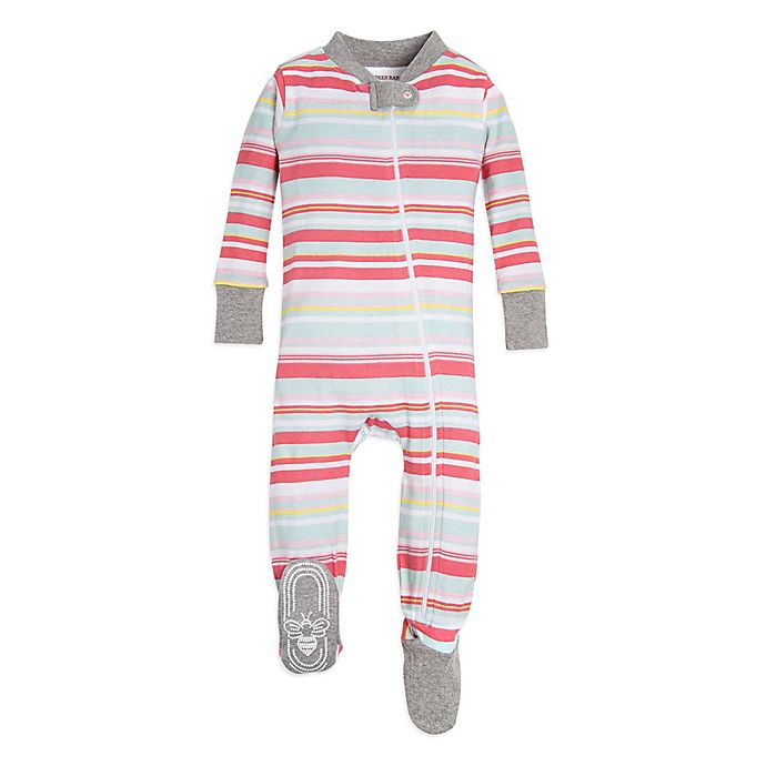 Alternate image 1 for Burt's Bees Baby® Vintage Striped Footed Sleeper