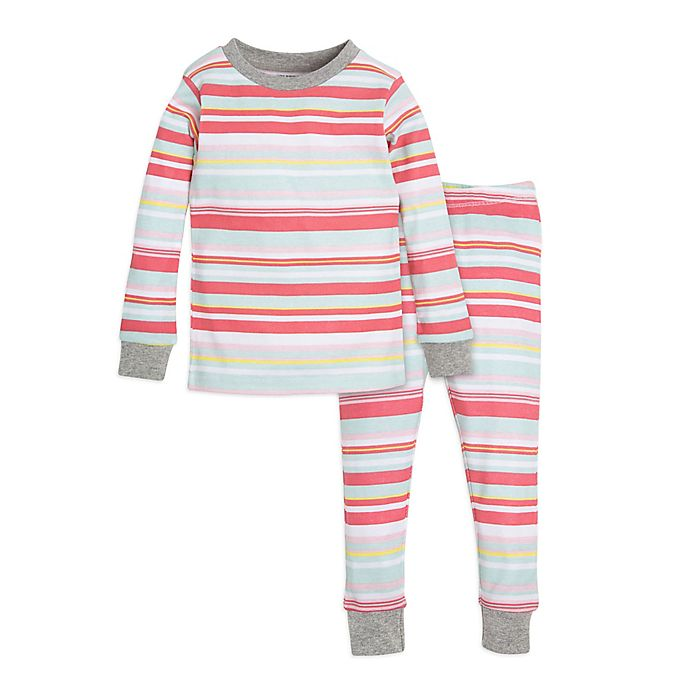 Alternate image 1 for Burt's Bees Baby® 2-Piece Striped Top and Pant Set